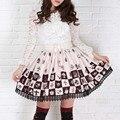 Lolita princesa falda Dulce Alice in wonderland ajedrez poker imprimir plaid gentlewomen plisados falda elástico de la cintura señora faldas