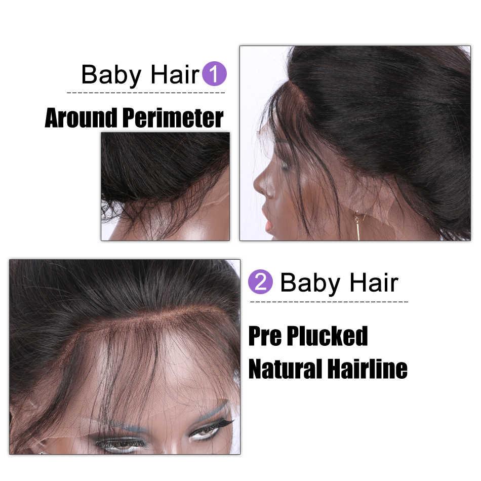Шелковистые прямые волосы 13x6 Синтетические волосы на кружеве парики из натуральных волос для Для женщин бесклеевой с детскими волосами предварительно вырезанные натуральный черный индийские Реми волосы Luffy