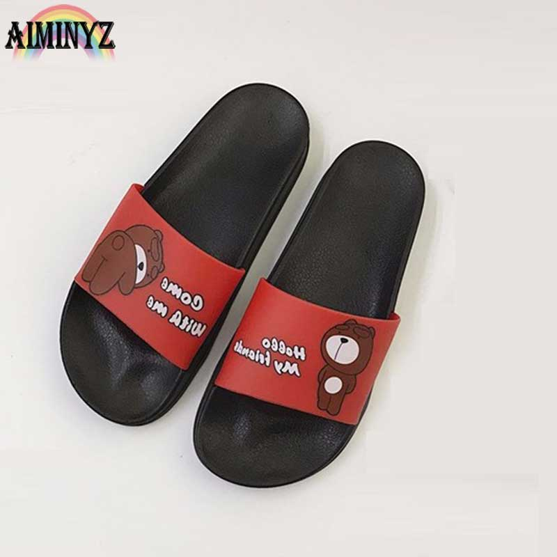 Summer Bear Slippers Lovely Beach Women Funny Antiskid Bathroom Cartoon Sandals Floor Shoes Outside Animal Zapatos Mujer Slides