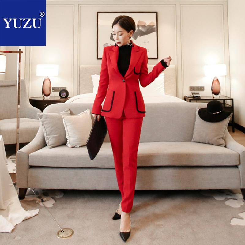 Fashion Red Black Pant Suits For Women Pocket Double Breasted Blazer Jacket Turn-down Collar Office Lady Business Pant Suits