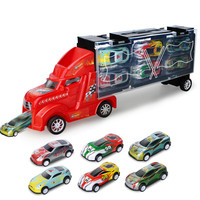 Sliding Toys Container Model Set Pull Back Truck Trailer Model Alloy Tin with 6pcs 12pcs Metal Little Cars Child Boy Toy 1:36