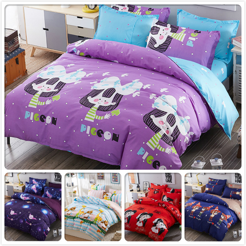 Purple Blue AB Side Duvet Cover Kids Girl Bed Linen Cotton 3/4 pcs Bedding Sets Single Twin Queen King Size 1.2m 1.5m 1.8m 2.0m