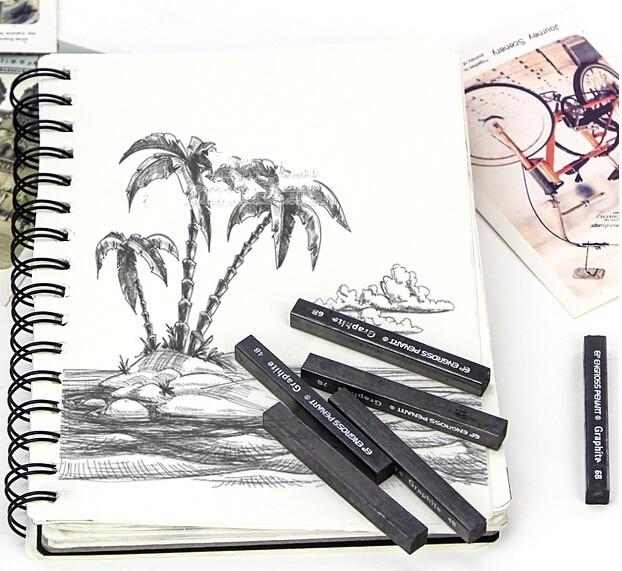 B HB 2B 4B 6B 8B Assorted Degree Graphite Stick Set for Sketching Drawing and Shading MyArTool Compressed Graphite Sticks