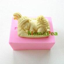 Mamá y guisante 0871 envío gratis bebé de silicona en forma de molde del jabón del molde Cake Decoration Fondant Cake 3D molde de la categoría alimenticia
