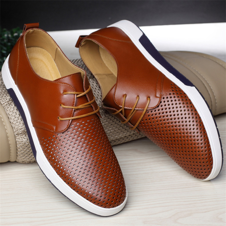 Merkmak New Men Casual Shoes Leather Summer Breathable Holes Luxurious Brand Flat Shoes for Men
