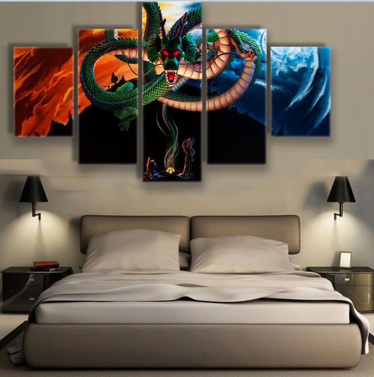 5 Pcs Chinese Sacred Legend Dragon Shenlong Dbz Goku Dragon Ball Home Wall Decor Canvas Picture