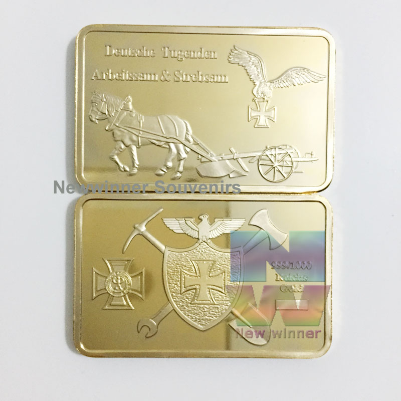 1pcs 1oz Germany Challenge Coin WW2 War Deutsche Souvenir Bullion bar One Troy Ounce Gold Plated Replica Collection Gift