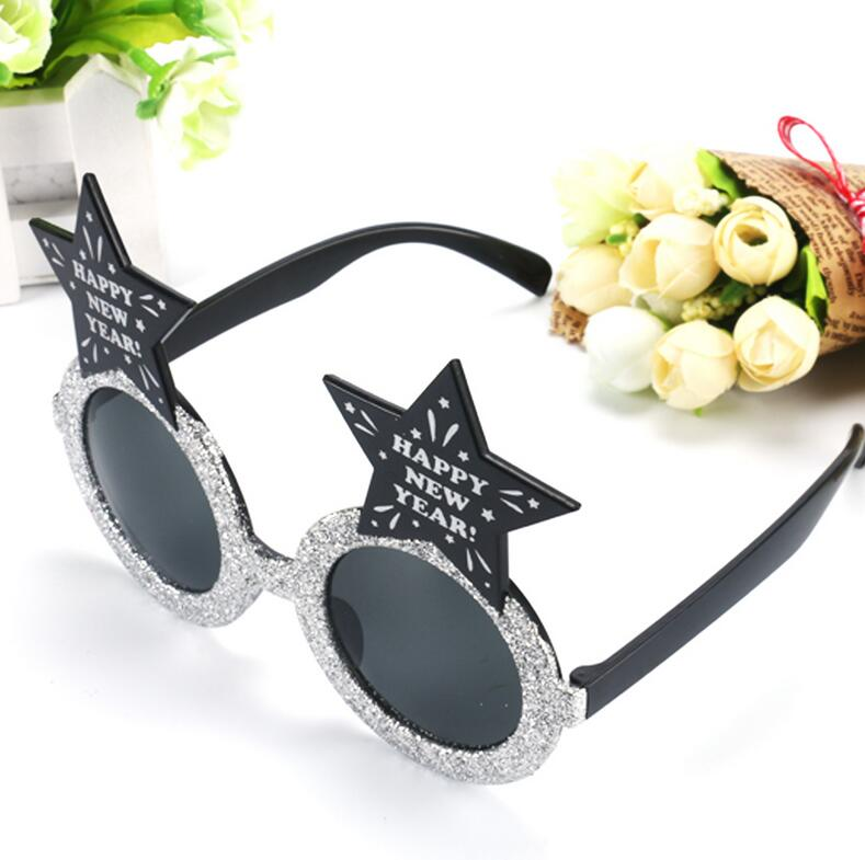 Funny Happy New Year Sparkling Star Glasses Photo Booth Props ...