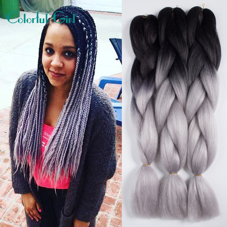 24inch Ombre Marley Hair Xpression Braiding Hair 100g Pack Colorful