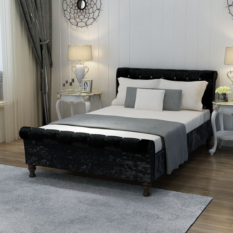 Crushed Velvet Bed Fabric Upholstered Chesterfield Sleigh Bed Frame Crystal Diamond Double 4FT6, 5FT HOT SALE