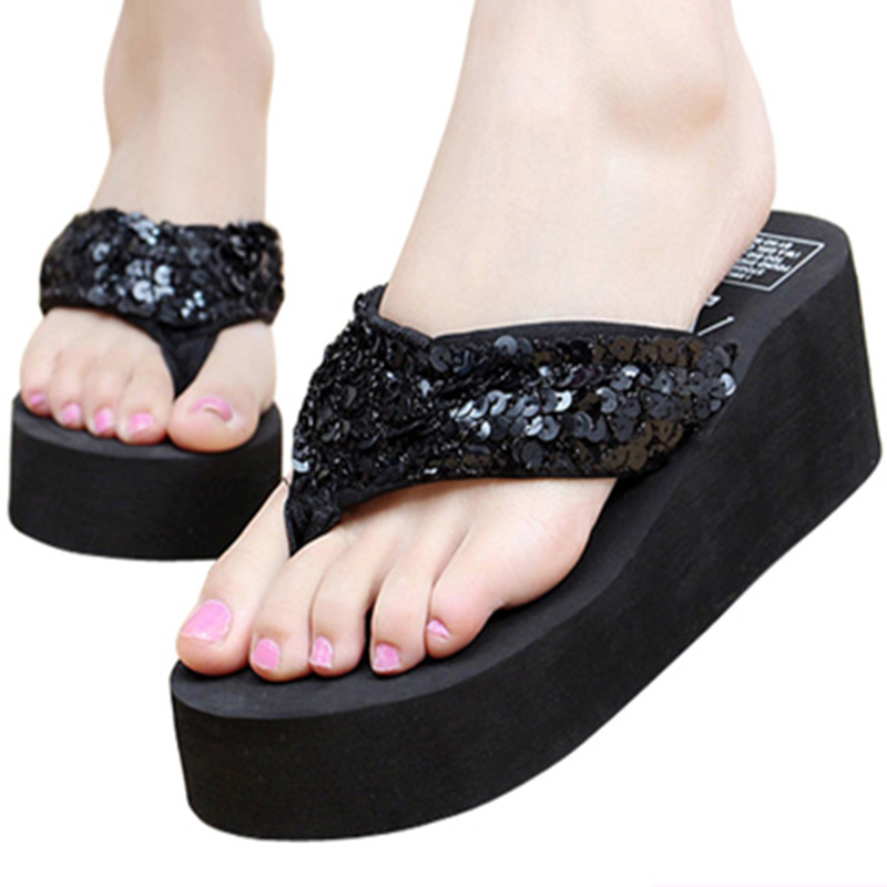 Women 2019 Slippers Spring High Heel Shoes Platform Flats Sandals Outdoor Beach Shoes Summer Casual Slippers Women 39 s Fashion in Flip Flops from Shoes