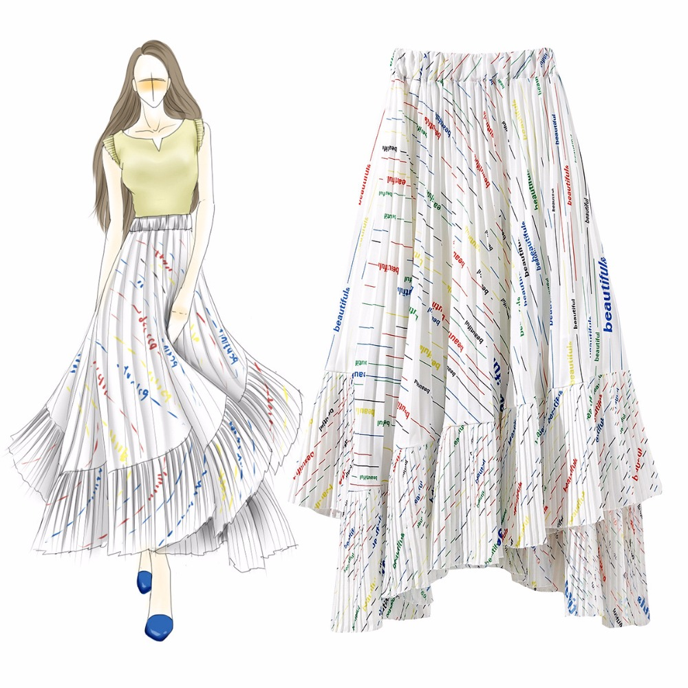 Fashion women's letter print pleated skirts Summer elegant irregular skirts A064 Price $78.99