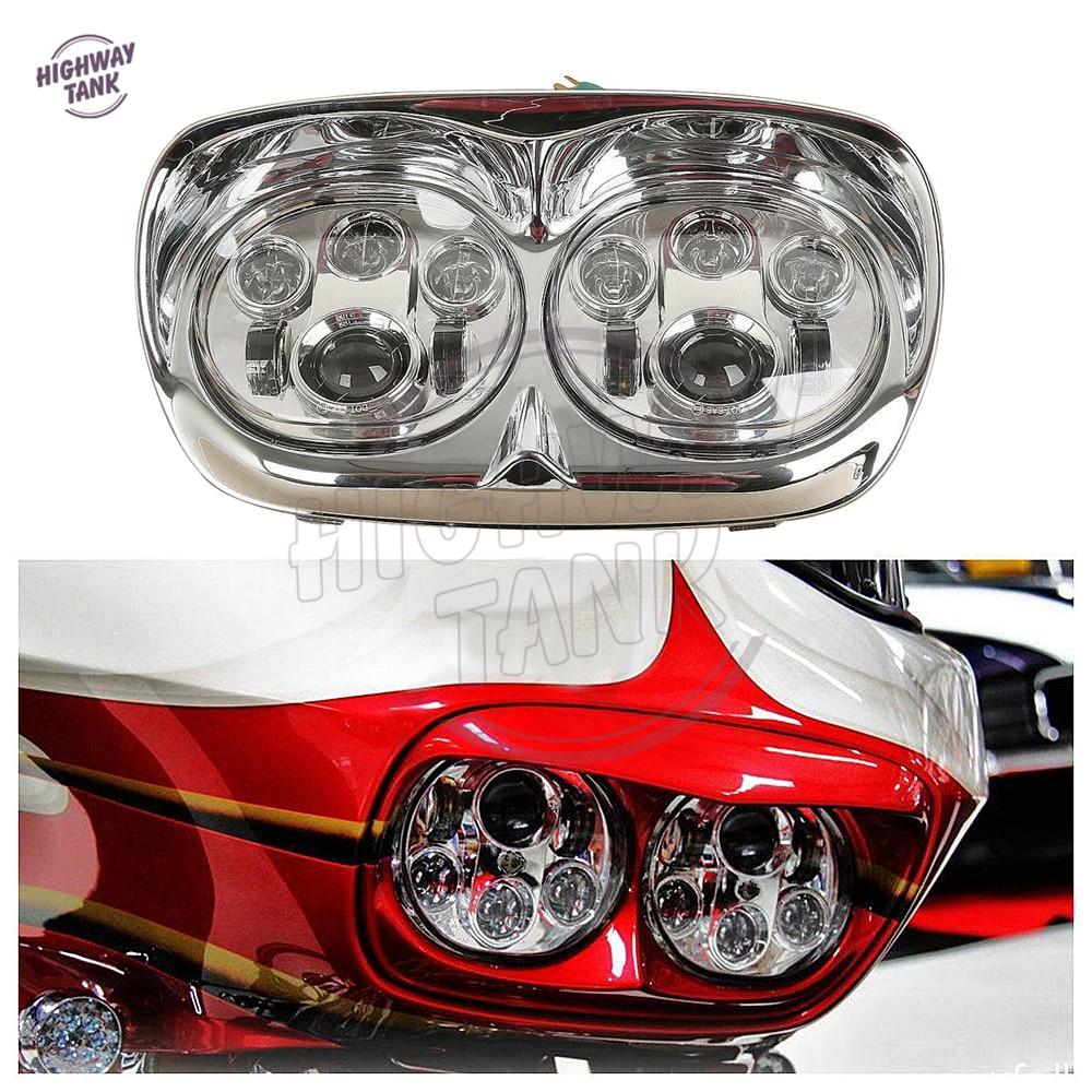 5 3/4 5.75 Chrome Motorcycle LED Dual Headlight Daymaker Lamp case for Harley Road Glide FLTR EFI FLTRI 1998 2013