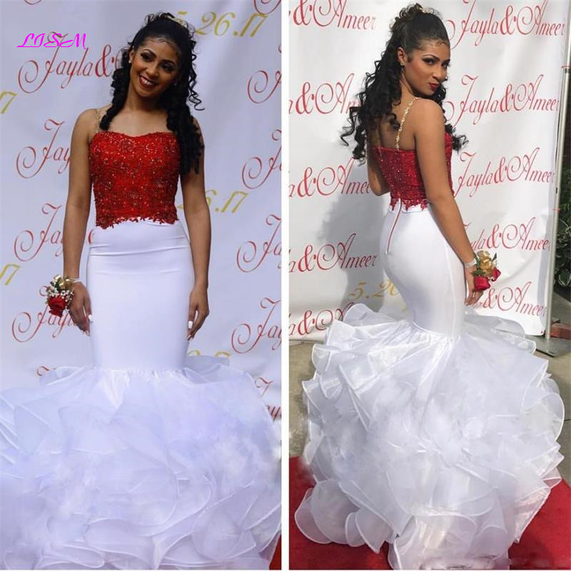 2019 Black Girl White Mermaid Prom Dresses Spaghetti Strap Arabic Long Evening Dress Backless African Party