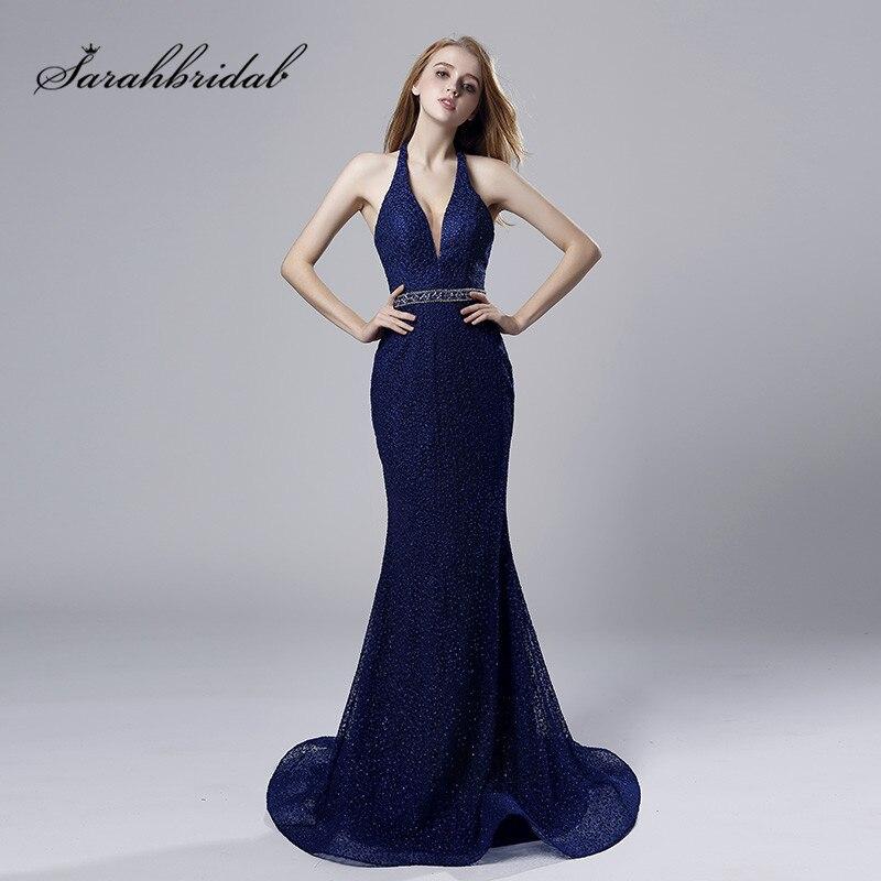 New Mermaid Long Evening Dresses Halter Tulle Sleeveless Backless V Neck Prom Party Gowns Floor Length