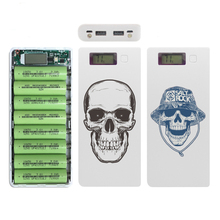 Colored Drawing 8*18650 battery Dual USB Power Bank Case Charging Box 18650 Battery Charger Mobile Phone DIY Shell