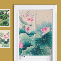 New Linen NOREN Chins Style Lotus Flower Door Curtain Red Crowned Crane Floral Moon Tapestry 85x120cm