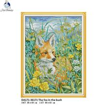 Joy Sunday The Fox in the Bush Pattern Cross Stitch 11CT 14CT DIY Handwork Kits For Embroidery nkf Home Decor