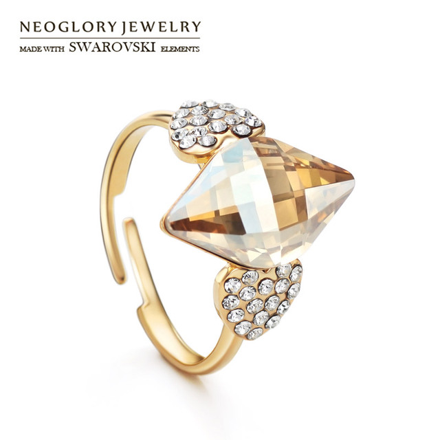 Neoglory Austria Crystal   Czech Rhinestone Adjustable Finger Ring  Champagne Geometric Style Women Light Yellow Gold Color eb6d0487e842