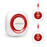 Koochuwah Wireless Elderly SOS Panic Button GSM Home Emergency Alarm System Nurse Call Alarm System with SMS&Call Alert Security