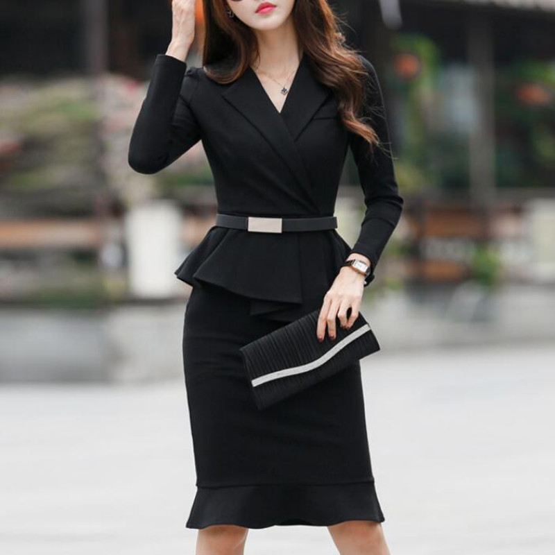2020 Spring Autumn Women's Dress Suit Office Lady Formal Wear Elegant Blazer With Belt Pencil Dress For Work Party Female Outfit