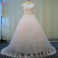 Waulizane Charming Princess Wedding Gown Pearls Sashes Wedding Dress Floor Length Delicate Lace Up Court Train