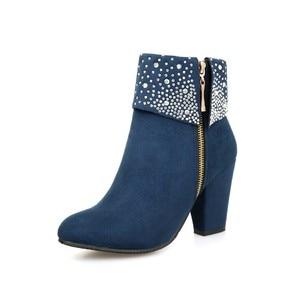Image 2 - Nouvelles chaussures de mode femmes bottes automne hiver strass cristal épais carré troupeau cheville fermeture éclair bottes chaudes bout rond chaussures