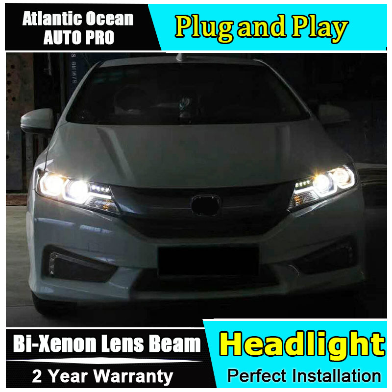 Auto Part Style LED Head Lamp for Honda City led headlights 2015-2017 FOR City H7 hid Bi-Xenon Lens low beam for volkswagen polo mk5 vento cross polo led head lamp headlights 2010 2014 year r8 style sn