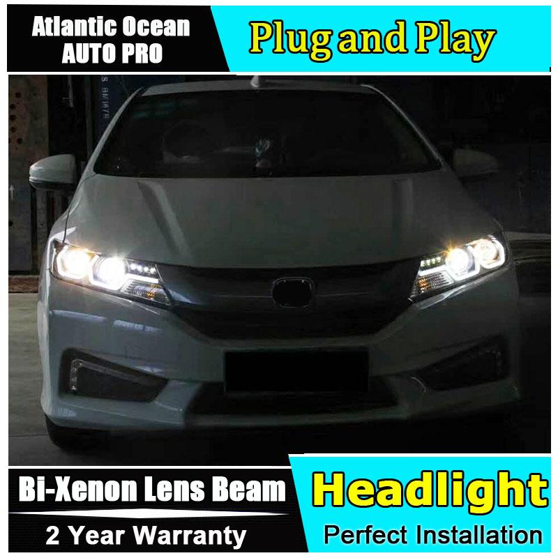 Auto Part Style LED Head Lamp for Honda City led headlights 2015-2017 FOR City H7 hid Bi-Xenon Lens low beam auto part style led head lamp for au di a3 led headlights 2014 2016 for au di a3 h7 hid bi xenon lens low beam