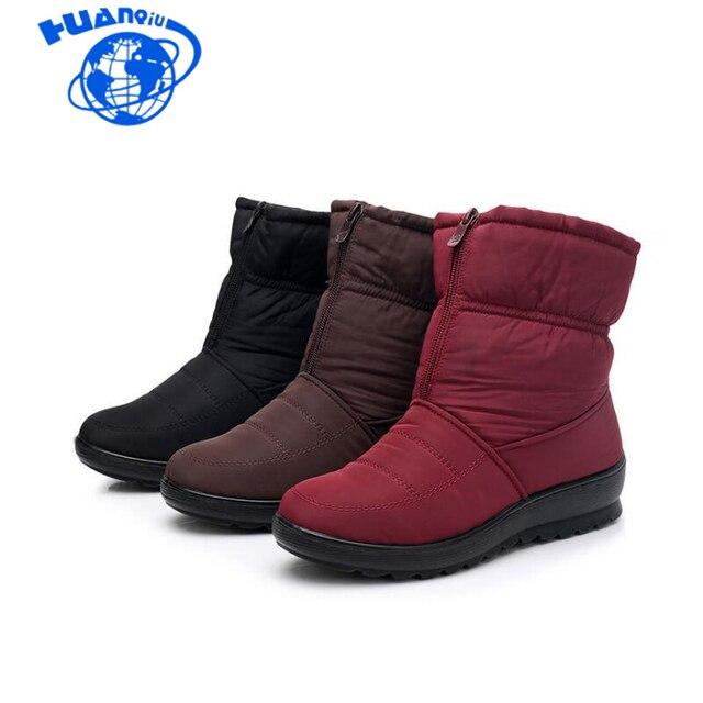 HUANQIU 2018 Kadın Kar Botları Kış sıcak Çizmeler Kalın Alt Platformu Su Geçirmez yarım çizmeler Kalın Kürk pamuklu ayakkabılar Wyq173