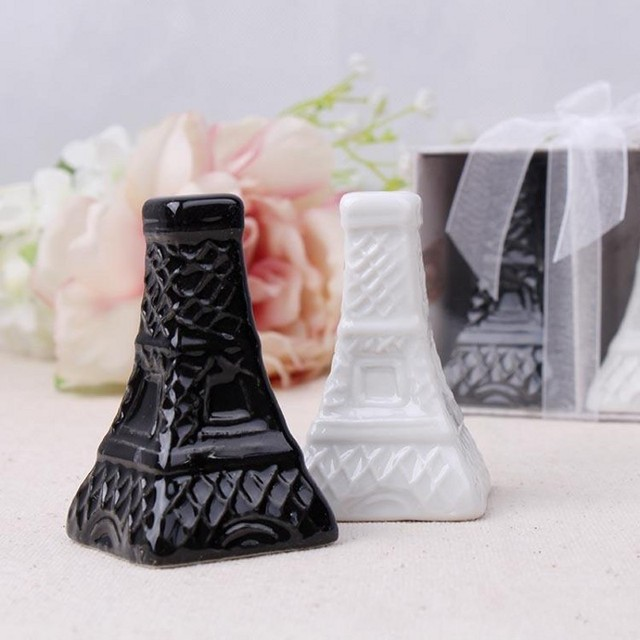 Eiffelturm Keramik Salz und Pfefferstreuer Weiß Schwarz Porzellan ...