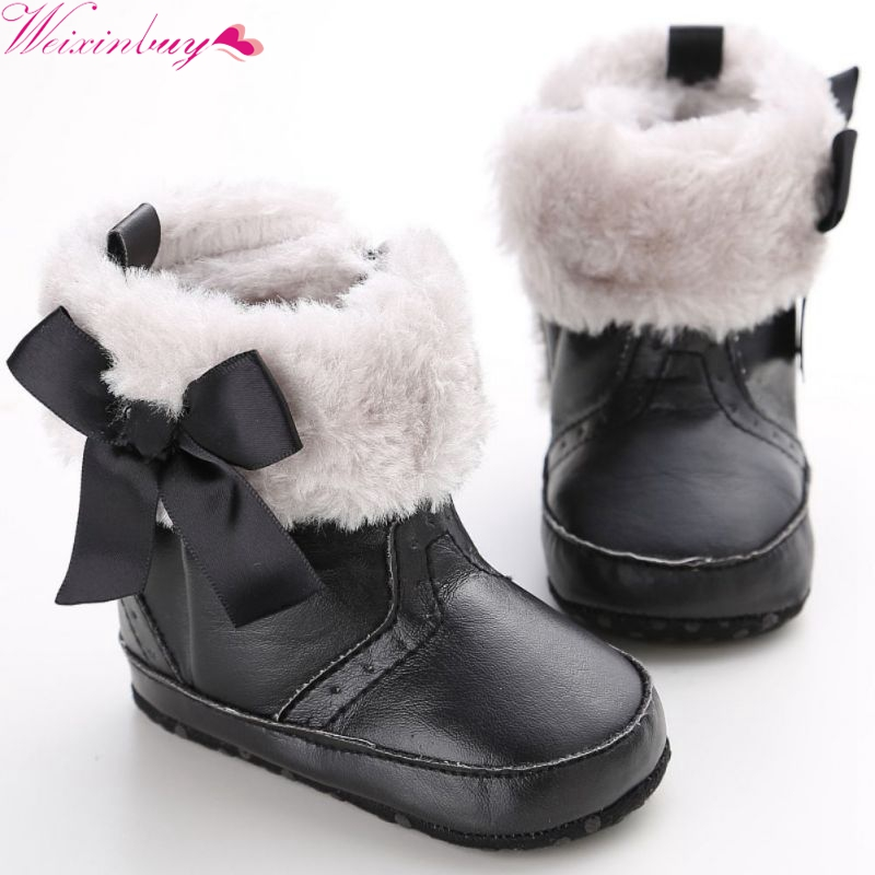 Baby Cute Lovely First Walkers Infant Princess Crib Shoes Girls Bow knot Fleece Snow Boots Toddler Warm Boots Baby Shoes