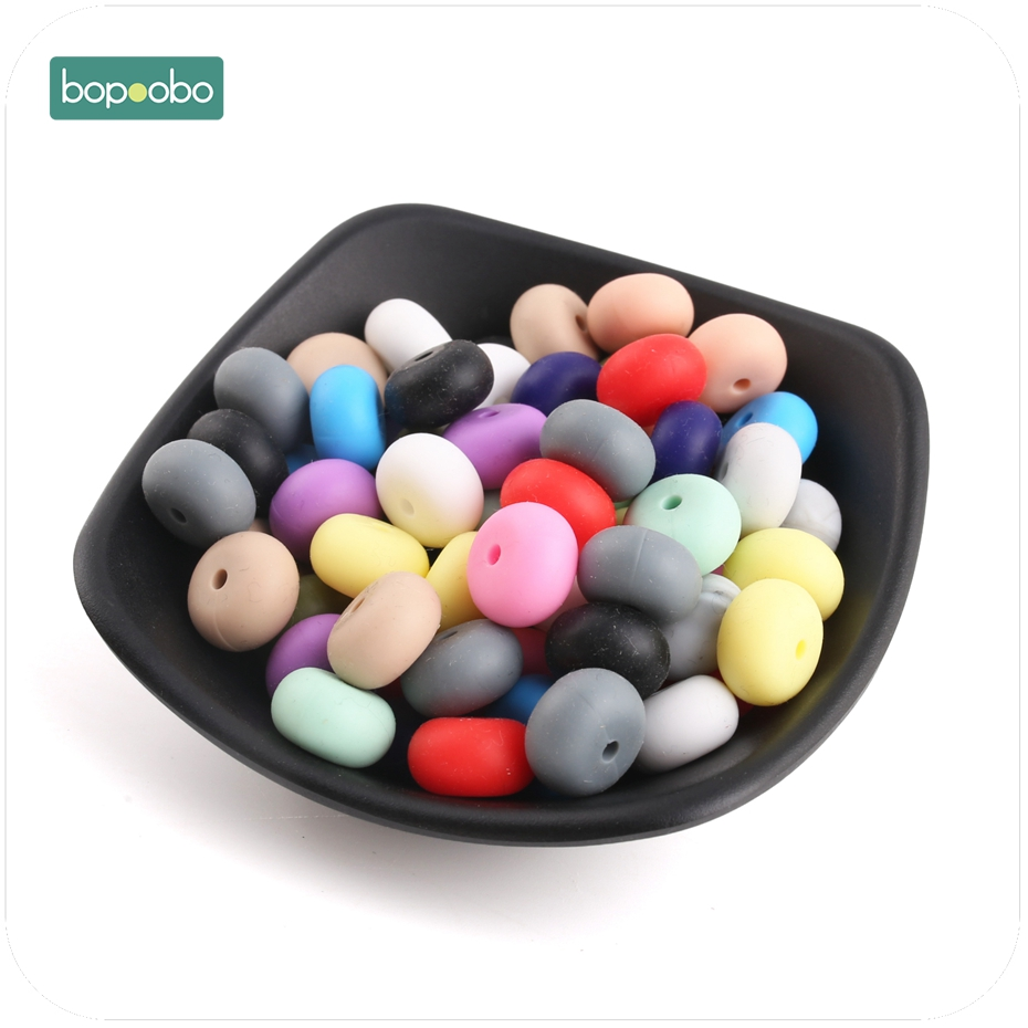 Bopoobo 30PC Silicone Beads Round Lentil Teether Beads BPA Free Baby Girl DIY Pacifier Chain Toy Baby Teething Food Grade Bead