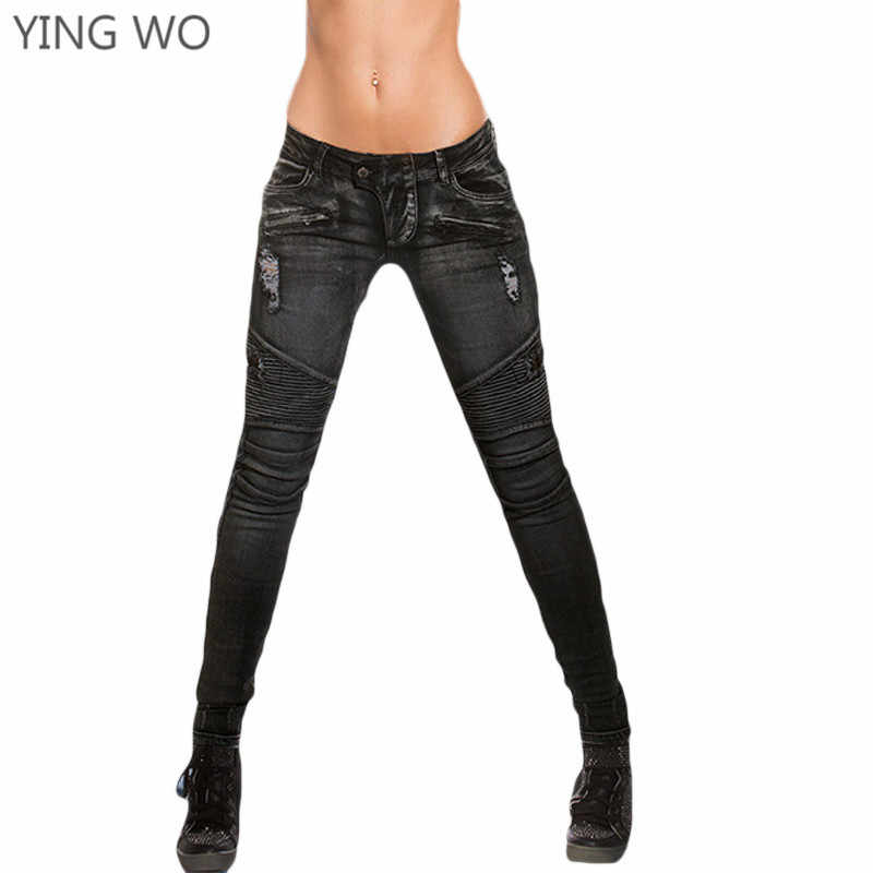 56981542a9 Detail Feedback Questions about New Arrival Moto & Biker Style Black Denim  Pencil Pants Plus Size Woman Front Zipper Bleached Ripped Pleated Skinny  Jeans ...