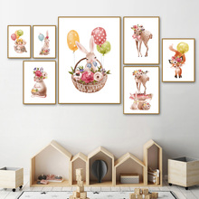 Cartoon Rabbit Fox Deer Mouse Rose Flower Wall Art Print Canvas Painting Nordic Posters And Prints Pictures For Kids Room