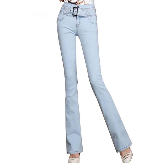 Flare calças 2017 mulheres calças jeans plus size calças de brim tarja com zíperes de alta cintura calças jeans femininas magro elegante da mulher calças de brim