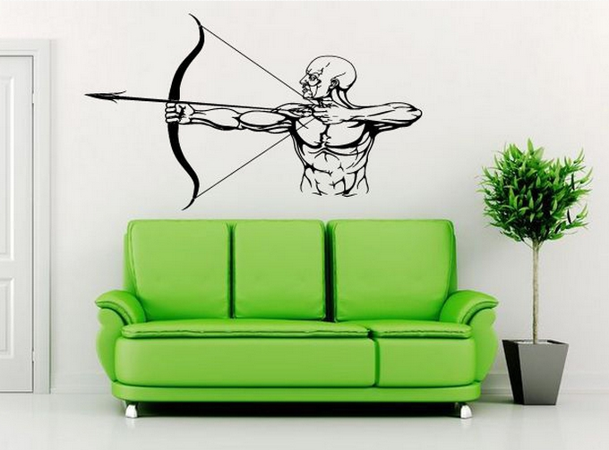 A Room Fit For An Archer: Gym Vinyl Wall Decal Archer Bow Hunter Muscle Man Fitness
