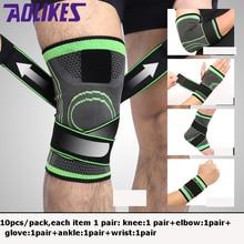 лучшая цена 10pcShin Knee Support Elbow Protector Leg Arthritis Injury Gym Sleeve Elasticated Bandage Charcoal Knitted Ankle Warm Wrist Warm