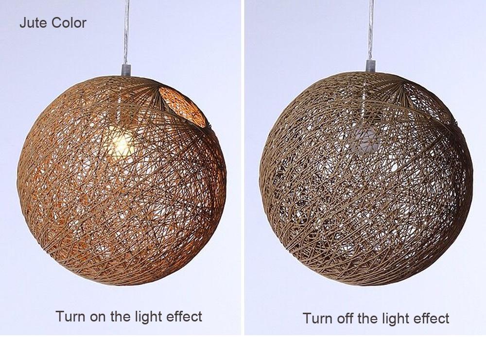 LED Pendant Lights Weaving Bamboo E27 Idyllic Rattan Hanging Lamps Colorful Lighting Dining Room Restaurant Linen Art Light7