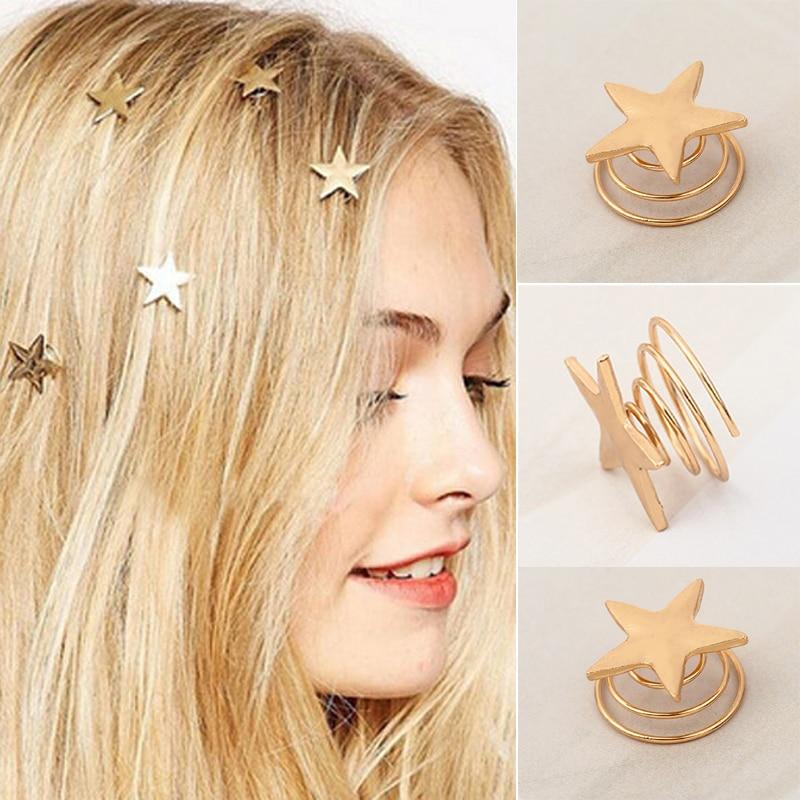 Women Girl Gold Star Hairpin Hair Grips Headwear Hairclip Alloy Gift Swirl Prom