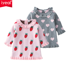 IYEAL Little Girl Winter Knit Sweater Dresses Baby Girls' Long-Sleeved Turn-down Collar Knit Gray Pink Dress Spring Baby Clothes new arrival baby dress 2017 spring summer casual style baby girls dress bow baby dress turn down collar kids clothes