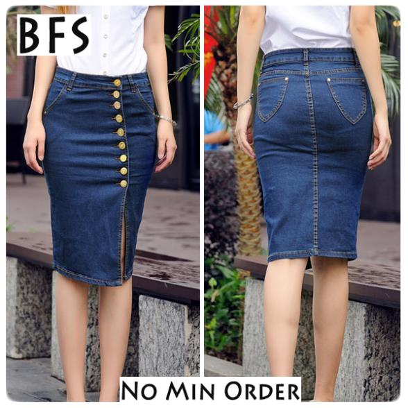 d975c436a Midi Skirt Bodycon Dark Blue Jean Front Buttons Side High Slit Pencil Denim  Clothing For Women