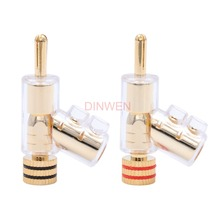 High End Gold Plated Brass Male Banana Plug Connector With Lock For Speaker Amplifier Binding Post Solder Free Hifi Audio DIY 1P