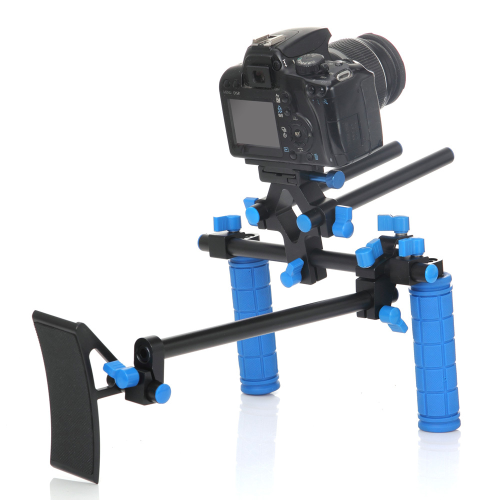 2016 Koolertron DSLR Shoulder PAD Support Mount+2 Hand Grips With 15mm Rail Rods For Canon 550D 500D 600D 1100D 60D 50D 40D 5D koolertron professional 15mm rail dia dslr shoulder pad support mount rig hand grip for cannon sony dv hdv hd camcorder
