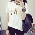 Women White Tshirt Short Sleeve Summer 2017 Korean Fashion O-neck Letter Printed Loose Tops&Tees Plus Size Clothing 2XL Hot Sale