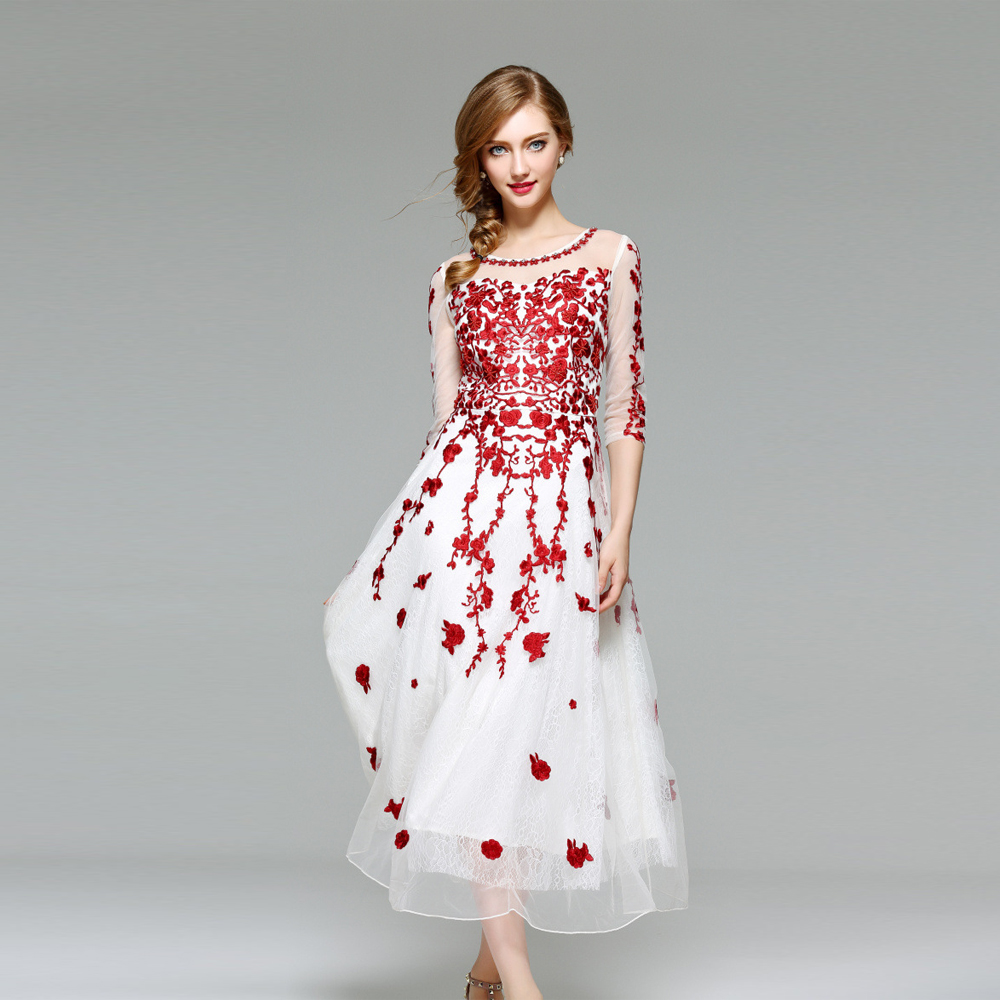 Uniquewho Women Lady Elegant Tulle Dress Exquisite Wine Red Flowers Embroidery Lace Dress Vintage Mid Calf Prom Party Dresses