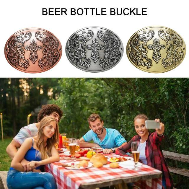 Innovative Outdoor Beer Bottle Belt Buckle Metal Buckle Camping Picnic Wine Can Rack Holder