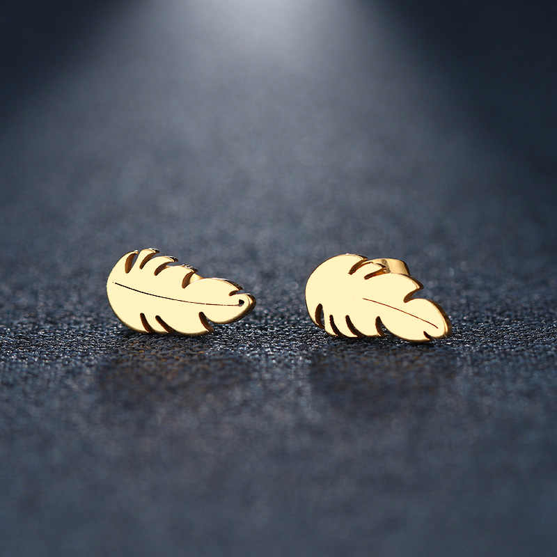 DOTIFI Stainless Steel Stud Earring For Women Man Feather Gold And Silver Color Lover's Engagement Jewelry Drop Shipping