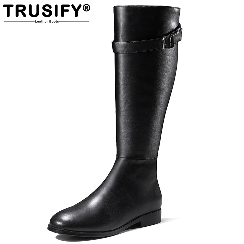 TRUSIFY 2018 Ohastonishingj Cow Leather Knee High Thigh Boot Round Toe Flat Square heel Flat Shoes Women