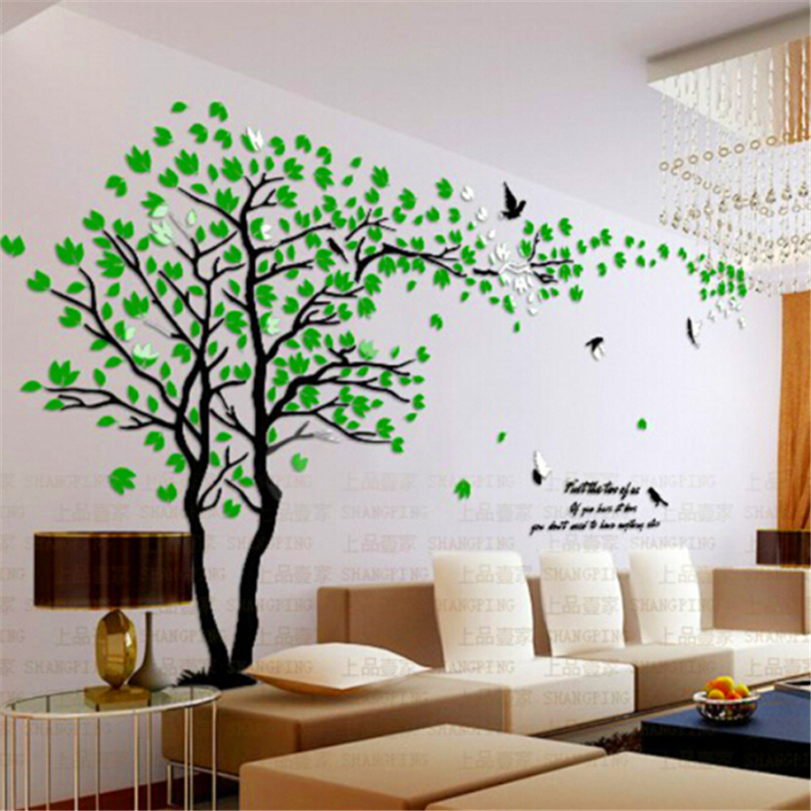 Modern 3d plum vase wall stickers flowers home decor living room new arrival crystal acrylic diy d wall stickers red tree modern 3d wall decals amipublicfo Image collections